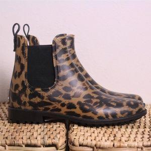 NEW Joules Leopard Rockingham Chelsea Rain Boots 7